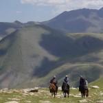 山の上からラクダと馬たちがやってきた